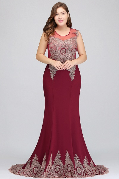 HOPE | Mermaid Appliques Crew Floor Length Sleeveless Burgundy Plus Size Evening Dresses_4