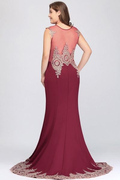 HOPE | Mermaid Appliques Crew Floor Length Sleeveless Burgundy Plus Size Evening Dresses_8