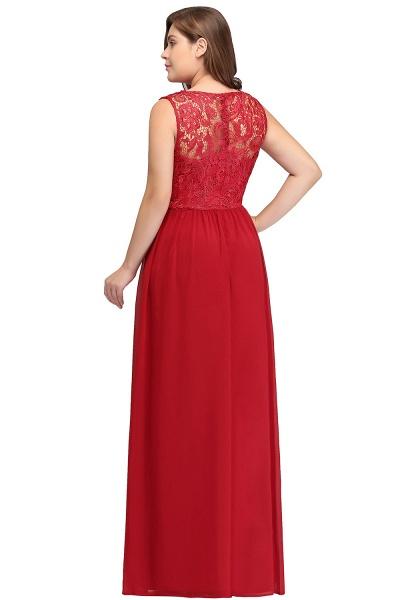 ISLA | A-Line Crew Floor Length Sleeveless Plus size Lace Chiffon Evening Dresses_3
