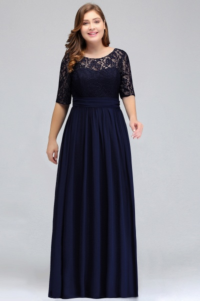 Short Sleeves Lace A-line Floor Length Bridesmaid Dress_6
