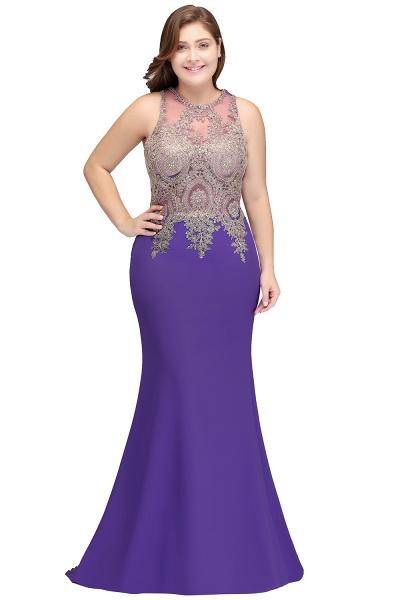 IVORY | Mermaid Crew Floor Length Sleeveless Plus size Evening Dresses with Appliques_1