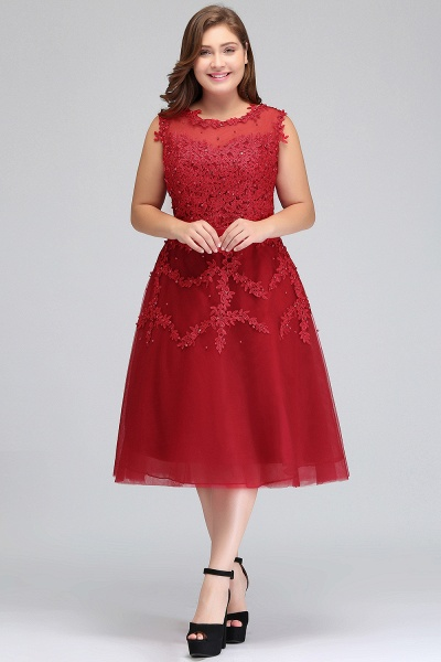 IRELAND   A-Line Crew Tea Length Plus size Sleeveless Tulle Burgundy Cocktail Dresses with Appliques_4