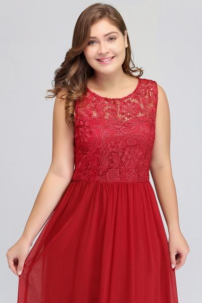 ISLA | A-Line Crew Floor Length Sleeveless Plus size Lace Chiffon Evening Dresses_11