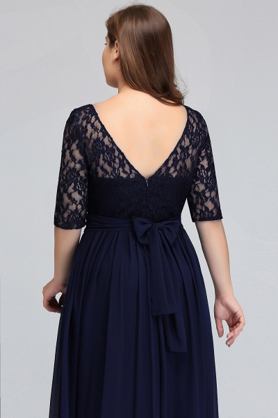 Short Sleeves Lace A-line Floor Length Bridesmaid Dress_8