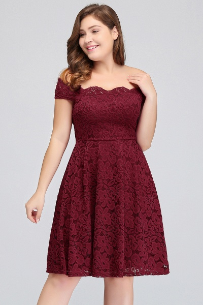 JANIYA | A-Line Off-Shoulder Knee Length Plus size Lace Burgundy Cocktail Dresses_6
