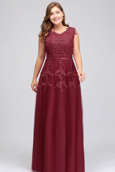 IRENE | A-Line Crew Floor Length Sleeveless Plus size Tulle Appliqued Evening Dresses with Crystals_6