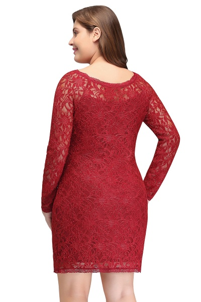 JANELLE | Sheath Scoop Short Long Sleeves Plus size Lace Burgundy Cocktail Dresses_3