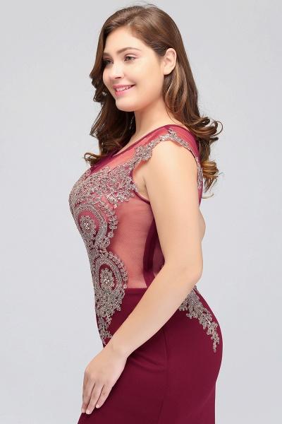 HUNTER | Mermaid Scoop Floor Length Plus size Sleeveless Appliques Burgundy Evening Dresses_9