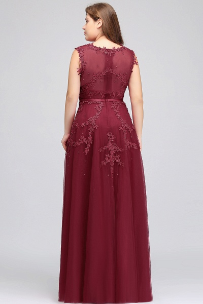 IRENE | A-Line Crew Floor Length Sleeveless Plus size Tulle Appliqued Evening Dresses with Crystals_10