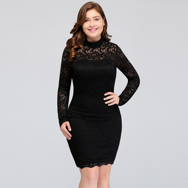 JANE | Mermaid Crew Short Plus size Long Sleeves Lace Black Cocktail Dresses_11