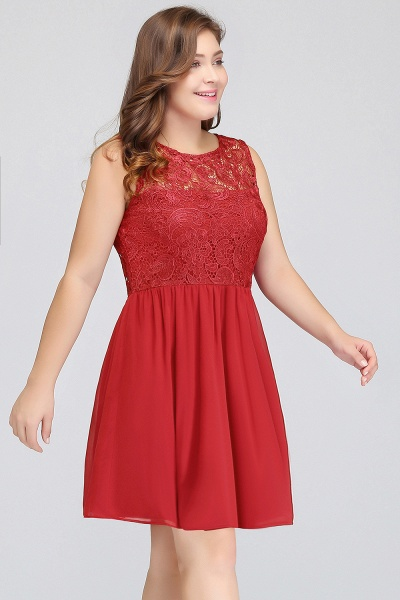HENLEY | A-Line Crew Short Sleeveless Lace Chiffon Red Cocktail Dresses_5