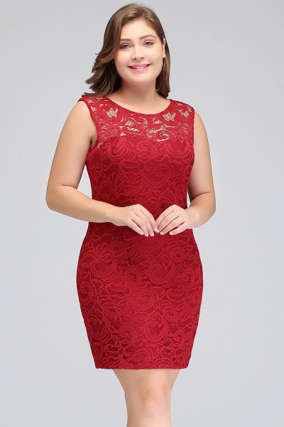 JAMIE | Mermaid Scoop Plus size Short Sleeveless Lace Cocktail Dresses_4