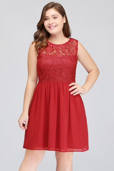 HENLEY | A-Line Crew Short Sleeveless Lace Chiffon Red Cocktail Dresses_3