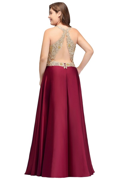 ISABELA   A-Line V-neck Plus size Long Sleeveless Evening Dresses with Appliques_3
