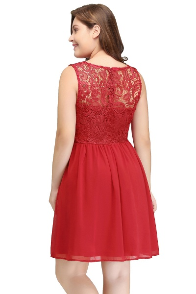 HENLEY | A-Line Crew Short Sleeveless Lace Chiffon Red Cocktail Dresses_8