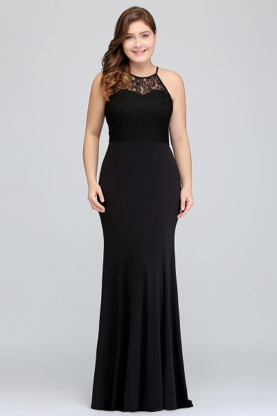 JAELYNN | Mermaid Halter Floor Length Plus size Black Evening Dresses with Lace_5