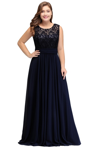IVY | A-Line Crew Long Plus size Sleeveless Dark Navy Formal Dresses with Lace_3