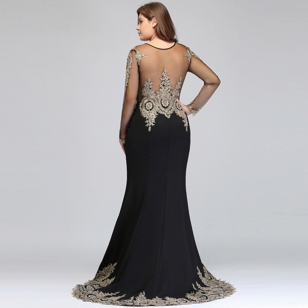 ISABELLE | Mermaid Crew Floor Length Plus size Long Sleeves Evening Dresses with Appliques_9