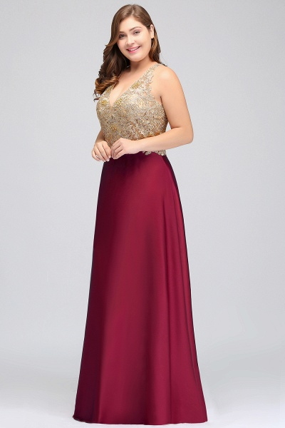ISABELA   A-Line V-neck Plus size Long Sleeveless Evening Dresses with Appliques_4