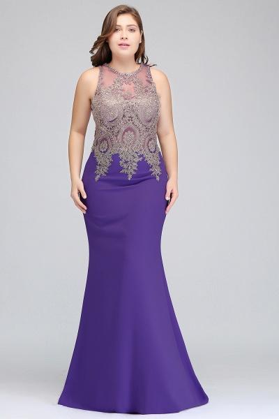 IVORY | Mermaid Crew Floor Length Sleeveless Plus size Evening Dresses with Appliques_8