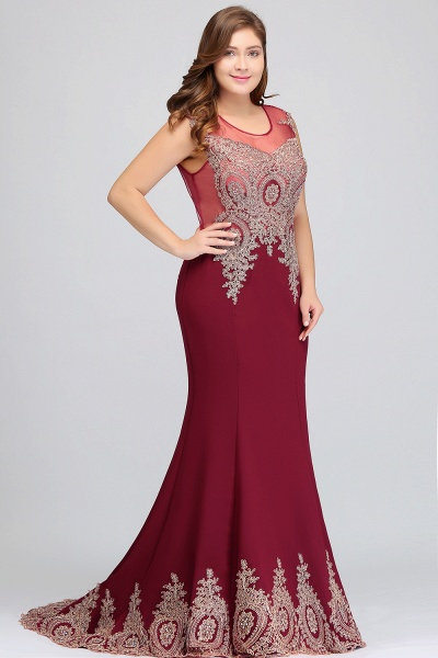 HOPE | Mermaid Appliques Crew Floor Length Sleeveless Burgundy Plus Size Evening Dresses_9