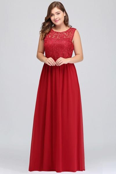 ISLA | A-Line Crew Floor Length Sleeveless Plus size Lace Chiffon Evening Dresses_4