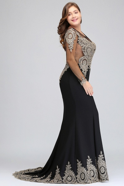ISABELLE | Mermaid Crew Floor Length Plus size Long Sleeves Evening Dresses with Appliques_7
