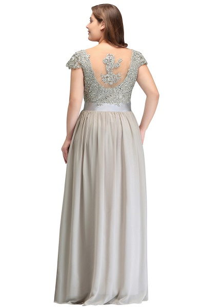 HOLLAND | A-Line Scoop Floor Length Cap Sleeves Appliques Silver Plus Size Evening Dresses with Sash_8