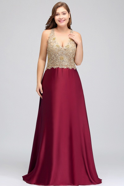 ISABELA   A-Line V-neck Plus size Long Sleeveless Evening Dresses with Appliques_5