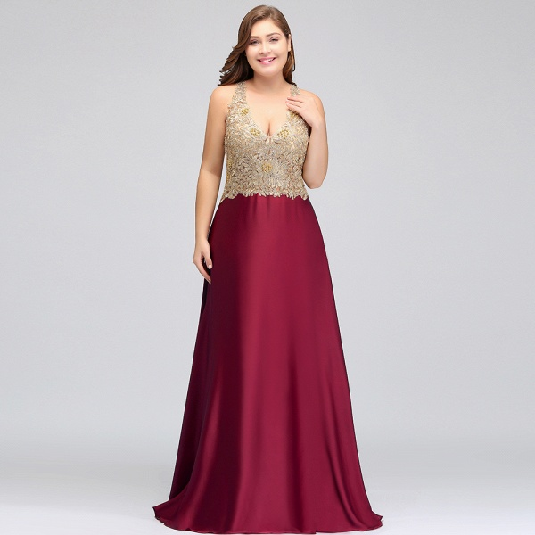 ISABELA   A-Line V-neck Plus size Long Sleeveless Evening Dresses with Appliques_12
