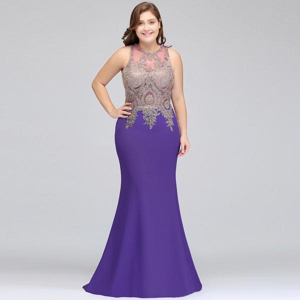 IVORY | Mermaid Crew Floor Length Sleeveless Plus size Evening Dresses with Appliques_9