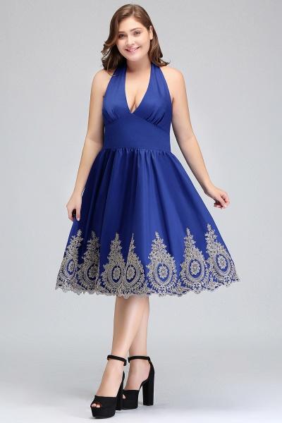 IZABELLA | A-Line V-neck Halter Plus size Tea Length Cocktail Dresses with Appliques_4