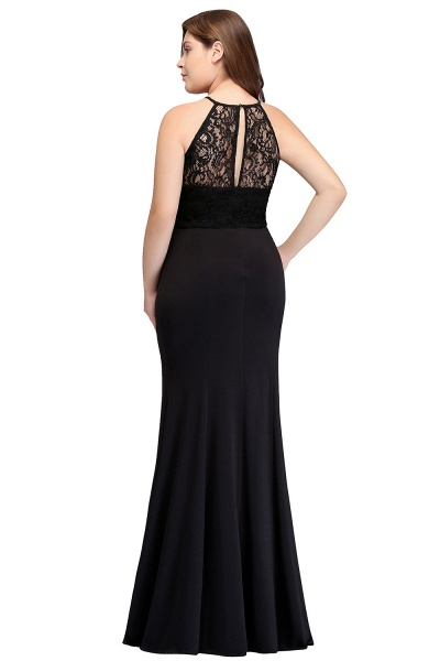 JAELYNN | Mermaid Halter Floor Length Plus size Black Evening Dresses with Lace_3