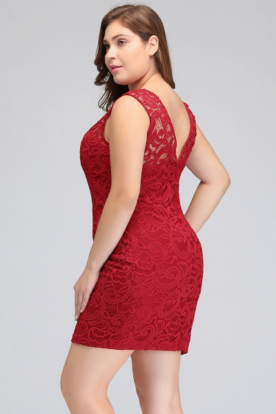 JAMIE | Mermaid Scoop Plus size Short Sleeveless Lace Cocktail Dresses_6