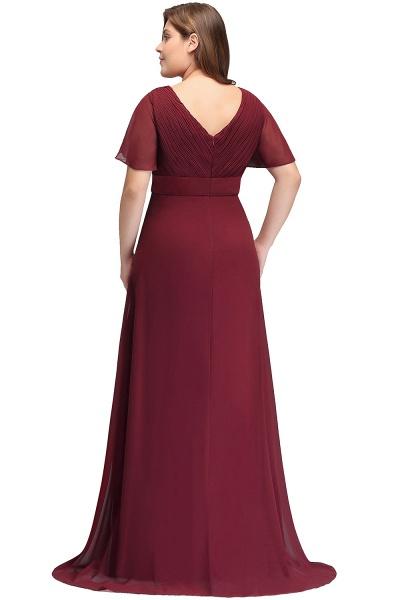 JAYDE | Mermaid V-neck Floor Length Short Sleeves Plus size Burgundy Evening Dresses with Sash_3