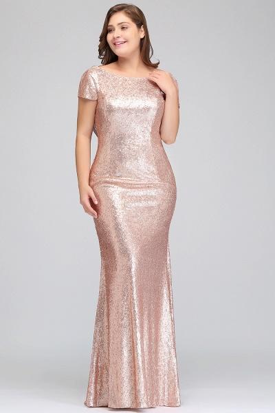 ISABEL | Mermaid Bateau Short sleeves Plus size Floor Length Sequins Formal Dresses_8