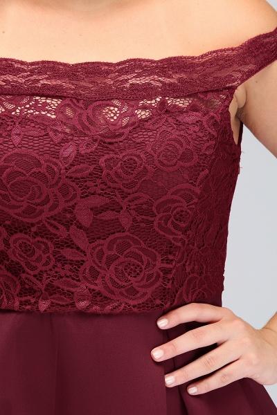 JAYCEE | A-Line Off-Shoulder Short Lace Chiffon Plus size Lace Burgundy Cocktail Dresses_11