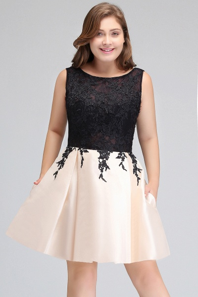 ISABELLA | A-Line Scoop Short Sleeveless Plus size Cocktail Dresses with Appliques_6