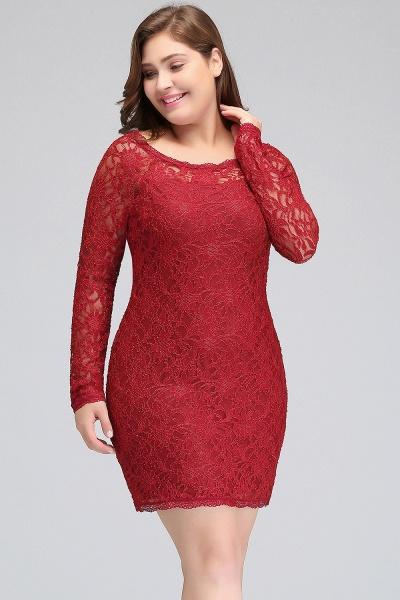 JANELLE | Sheath Scoop Short Long Sleeves Plus size Lace Burgundy Cocktail Dresses_9
