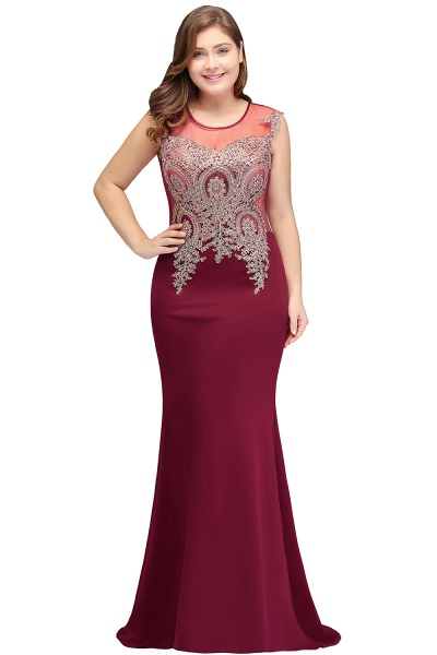 HUNTER   Mermaid Scoop Floor Length Plus size Sleeveless Appliques Burgundy Evening Dresses_3