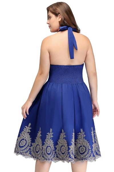 IZABELLA | A-Line V-neck Halter Plus size Tea Length Cocktail Dresses with Appliques_3