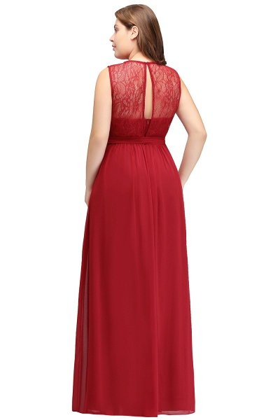 JAELYN | A-Line Crew Long Sleeveless Plus size Chiffon Evening Dresses with Ruffles Bow_3