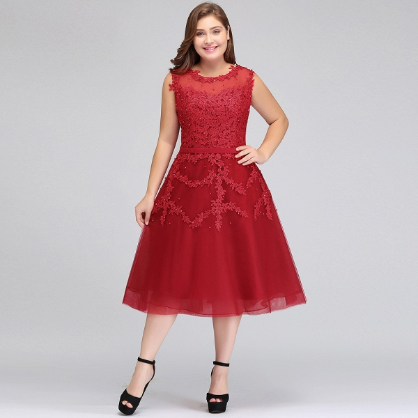 IRELAND | A-Line Crew Tea Length Plus size Sleeveless Tulle Burgundy Cocktail Dresses with Appliques_10