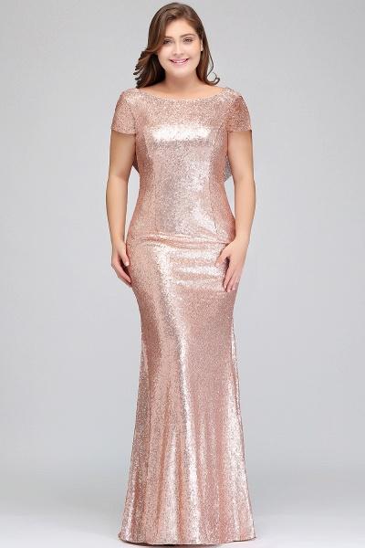 ISABEL | Mermaid Bateau Short sleeves Plus size Floor Length Sequins Formal Dresses_6
