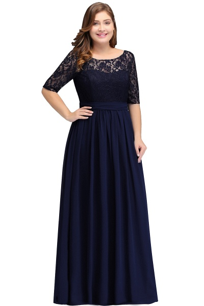 Short Sleeves Lace A-line Floor Length Bridesmaid Dress_1