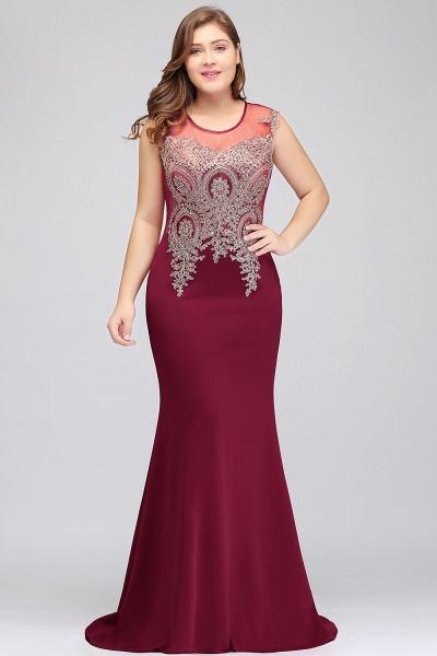 HUNTER   Mermaid Scoop Floor Length Plus size Sleeveless Appliques Burgundy Evening Dresses_4
