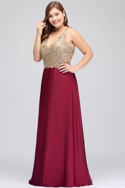 ISABELA | A-Line V-neck Plus size Long Sleeveless Evening Dresses with Appliques_6