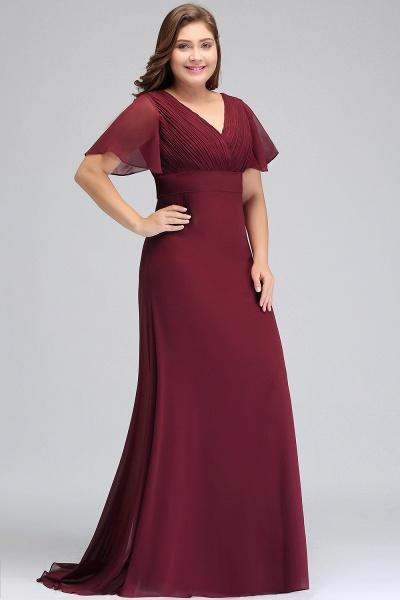 JAYDE | Mermaid V-neck Floor Length Short Sleeves Plus size Burgundy Evening Dresses with Sash_5