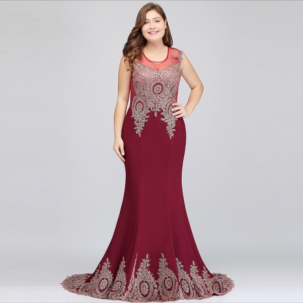 HOPE | Mermaid Appliques Crew Floor Length Sleeveless Burgundy Plus Size Evening Dresses_7