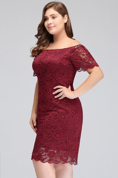 JAYDA | Mermaid Off-Shoulder Short Plus size Lace Burgundy Cocktail Dresses with Sleeves_5
